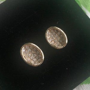 Anthropologie gold + diamond earrings